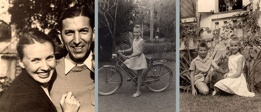 Left: 1949 Belgian Congo, Ganga Mira´s father and mother; Middle: 1958 Belgian Congo, Ganga Mira; Right: 1958 Sintra Portugal, Ganga Mira with her brother.