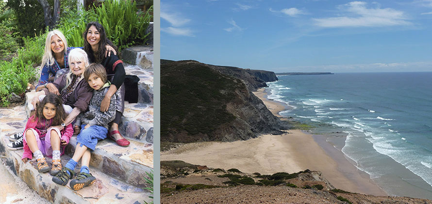 Left: 2011 Portugal, Ganga Mira with her family. Durga, Mukti, Arun and Satya; Right: 2009 Vale Figueiras Portugal, the wild Atlantic Ocean.